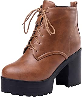 Women Ankle Short Boots, Ladies Solid Lace up Thick Bottom Square Heels Vintage Zipper Boots Party Shoes