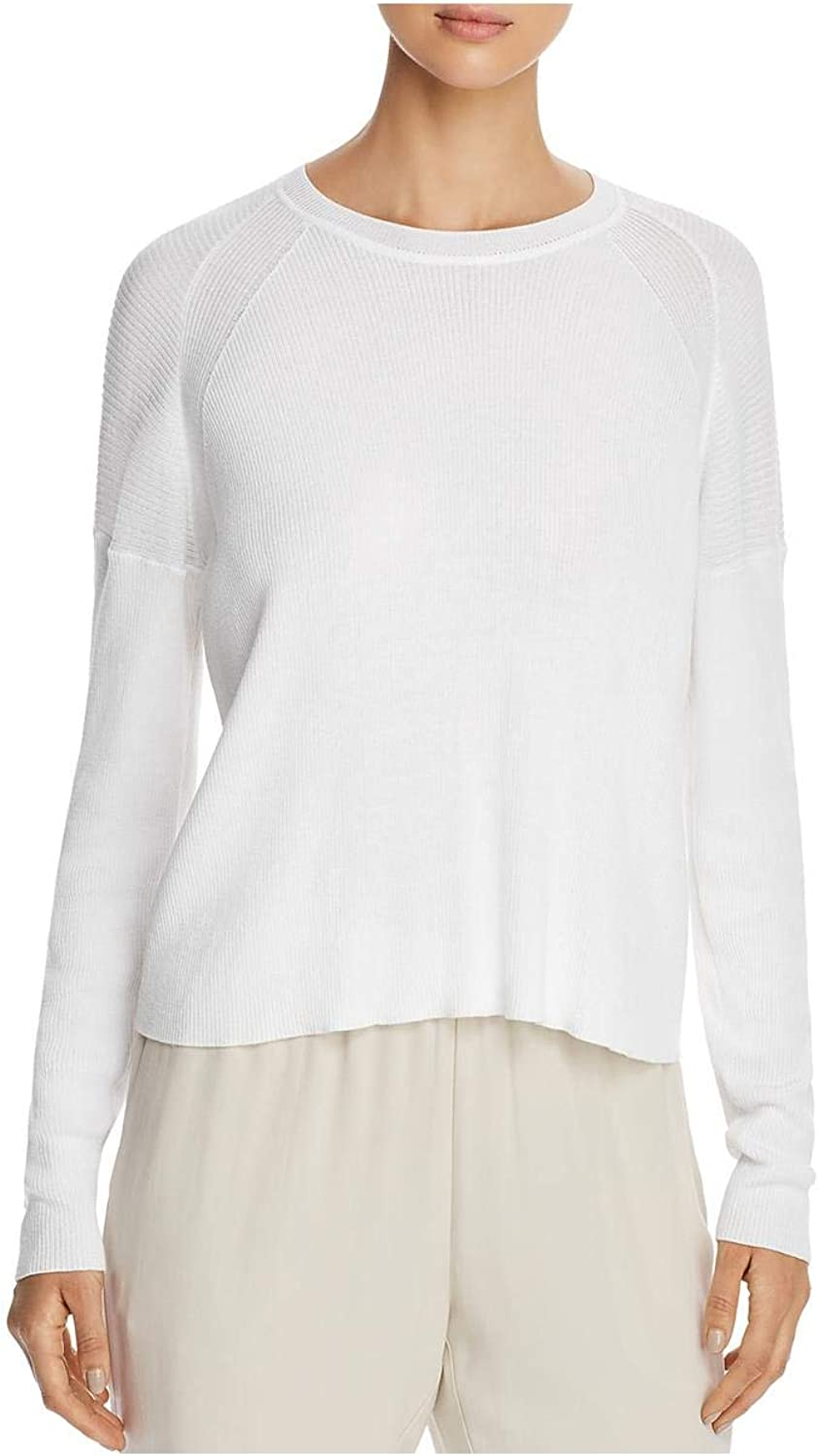 Eileen Fisher Womens Petites Ribbed Sweater Pullover Box Top, White PS