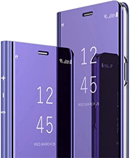 Starred Clear View Standing Cover for Samsung Galaxy S10 PC 360-degree Protective Mirror Case Shockproof Protective Flip Case (Purple)