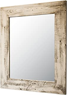 Drakestone Designs Mirror with Barnwood Frame   Wall Mount   Handmade Rustic Reclaimed Wood   22 x 26 Inches (Whitewash)