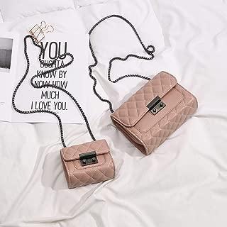 Trendy Generous Bags Girls Schoolgirls Messenger Bags Women Mini Square Bags Diamond Chain Bags Women Bags,Colour:White trumpet (Color : Pink Queen)
