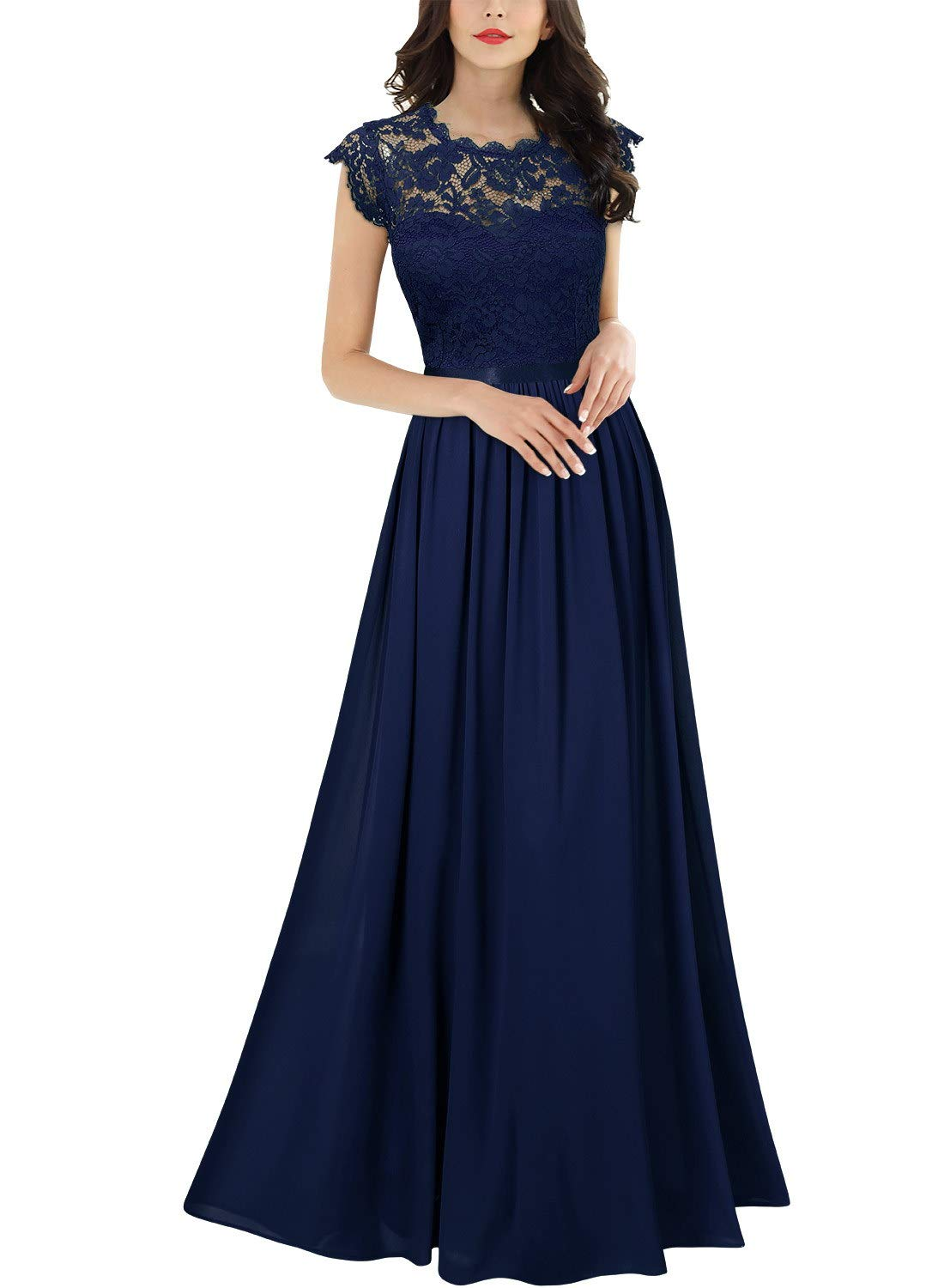Party Dresses - Women's Formal Floral Lace Evening Party Maxi Dress
