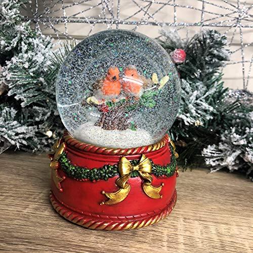 Mezzaluna Gifts Traditionelle Schneekugel mit Musik, Weihnachtsmann und Schlitten oder Rotkehlchen (Rotkehlchen)