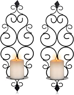 Sziqiqi Iron Wall Candle Sconce Holder Set of 2 Hanging Wall Mounted Pillar Candle Sconces Holder, Wall Sconces Decor for ...