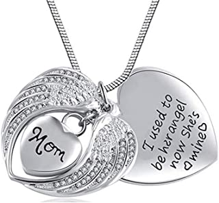 Eternalmemorial Sympathy Cremation Jewelry for Ashes Mom Dad Stainless Steel Keepsake Urn Pendant Necklace I Used to Be His Angel Now He's Mine + Exquise Box+ Funnel
