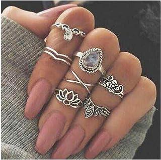 مجموعة خواتم كريستال عتيقة من كامبيسيس فضية بمفصلة مجوفة خاتم مزخرف بالزهور للنساء والفتيات (7 قطع)
