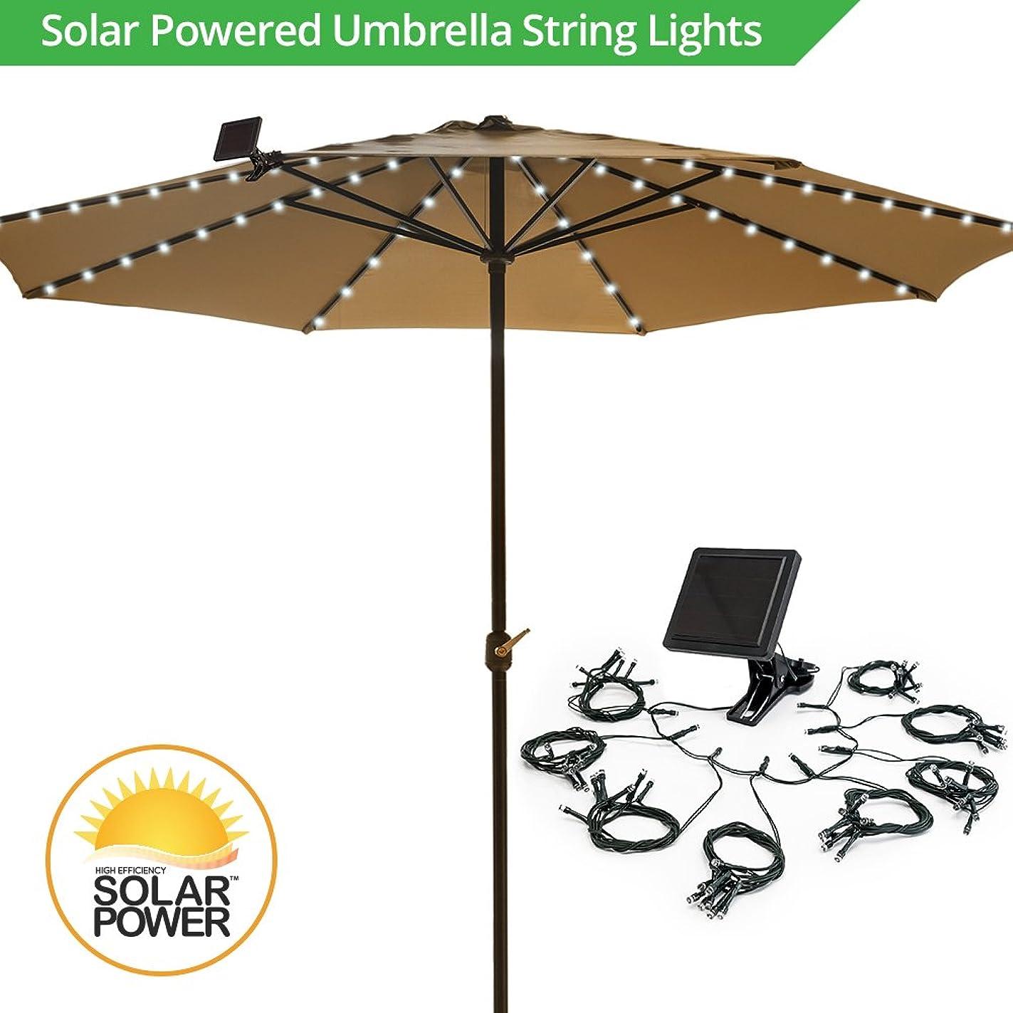 Umbrella Solar String Lights - Cool White - 72 total LEDs, 8 strings, 9 LEDs per string