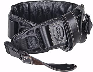 Leather Guitar Strap&Bass Strap Double Padded 2.75Inch Wide Incredible Soft,Packed with 2 Picks (Black)