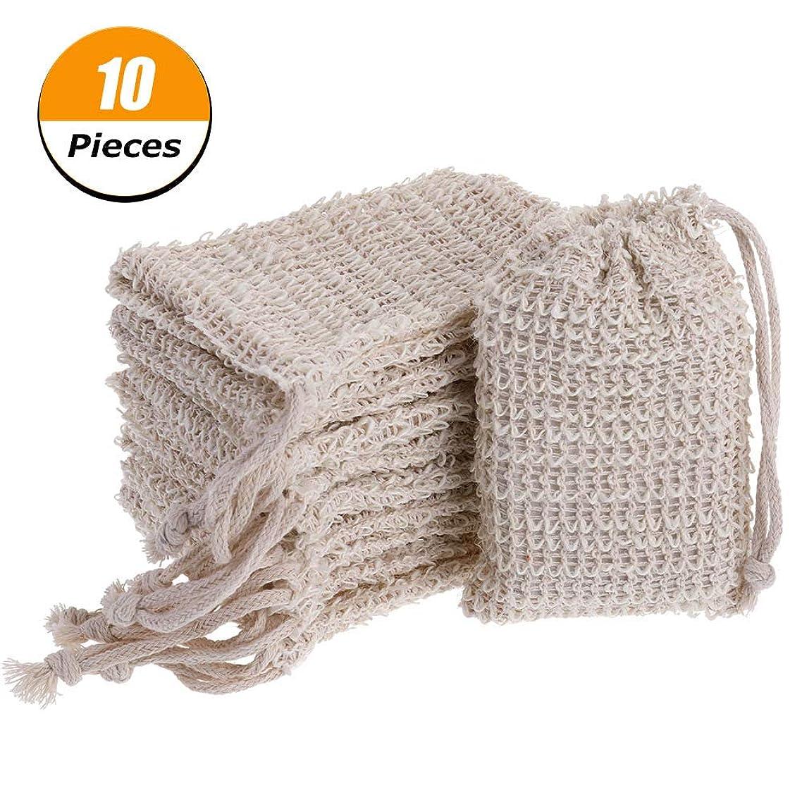 PORTOWN 10 Pack Natural Sisal Soap Bag Exfoliating Soap Saver