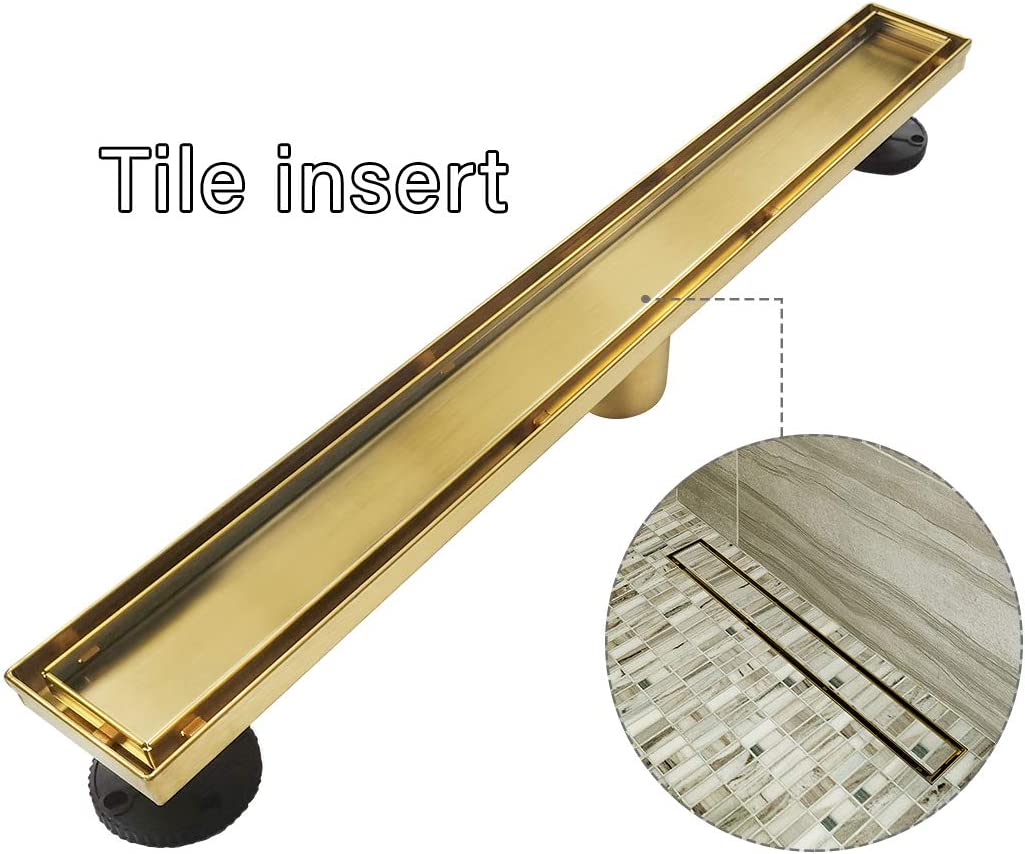 With 2-in-1 Flat /& Tile insert Cover Brushed 304 Stainless Steel Rectangle Shower Floor Drain,Floor Shower Drain Neodrain Brushed Brass 24-Inch Linear Shower Drain
