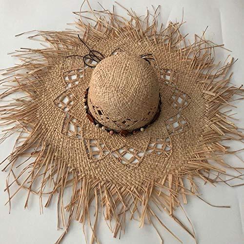 Sonnenhut Strohhut Hut Damen Lässige Handgemachte Frauen Stroh Sonnenhut Große Breite Krempe Panama Beach Stroh Sonnenkappen - 3_One_Size