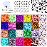 Cuentas de Colores 3mm Mini Cuentas y Abalorios Cristal para DIY Pulseras Collares Bisutería,Mini Regalo Cadena Cadena de Cuentas de Fabricación de Juego (24-Color)