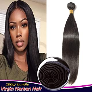 Brazilian Virgin Human Hair 1 Bundle 16 Inch Long Straight Sew in Hair Weft Weaves Extensions 100g/bundle #1B Natural Black