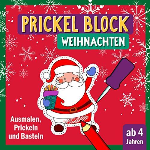 Prickel Block Weihnachten: Prickeln und Ausmalen für Kinder ab 4 | Prickelbilder rund um Winter, Weihnachten und die Weihnachtszeit |Prickel Vorlagen ... Kinder zum Ausschneiden, Prickeln und Basteln