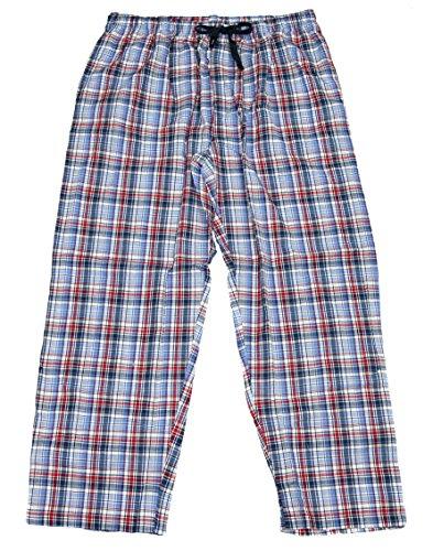 IZOD Men's Microsanded Yarn-Dye Broadcloth Sleep Pajama Lounge Pant (Medium Blue, Large Tall)