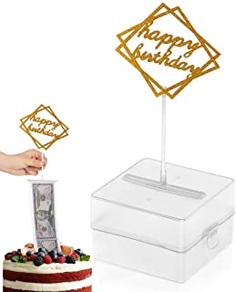 The Money Cake, Cake Money Box-Cake Money Pull Out Kit Includes 1Pc Clear Food-Contact Safe Box, 1Pc Gold Cake Topper, 20P...