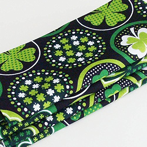 Black & Green Irish Shamrocks Cotton Napkins (Set of 4) ME2Designs Handmade Table Decor