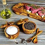 Darido Zuckerdose Dose mit Deckel und Löffel aus Olivenholz, Salzschippchen und Zuckertopf Set - 2 Handgefertigte Kräuterdöschen (inklusive...