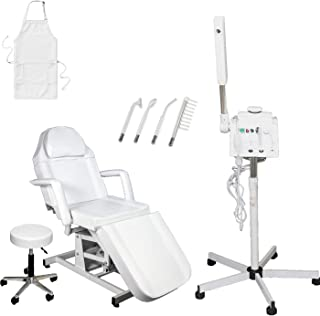 LCL Beauty Salon Spa Package: 2 in 1 Herbal Aromatherapy Facial Steamer, Professional High Frequency Machine. Electric Height Adjustable Facial Bed with Technician Stool