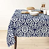 Gravan Rectangle Polyester Tablecloth Vintage Printed and Spill Proof Table Cover for Home and Kitchen (Blue and White, 60x84 Inch)