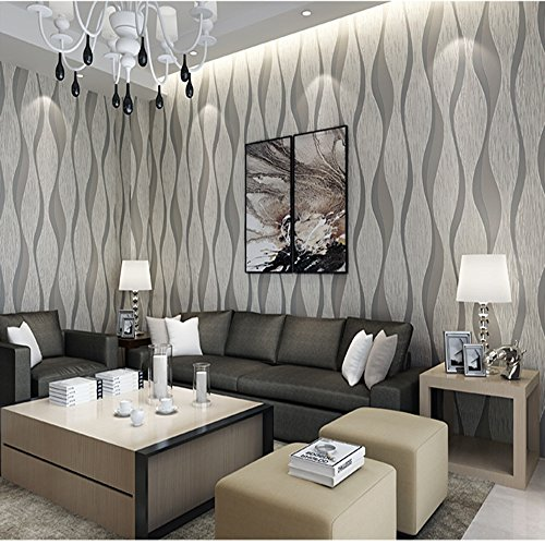 Modern Minimalist Non-Woven Wallpaper 3D Flocking Embossed Wallpaper Roll Living Room Bedroom