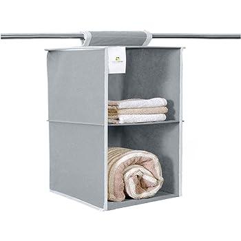 HomeStrap Hanging 2 Shelf/Compartment Clothes Storage Wardrobe Organizer - Grey
