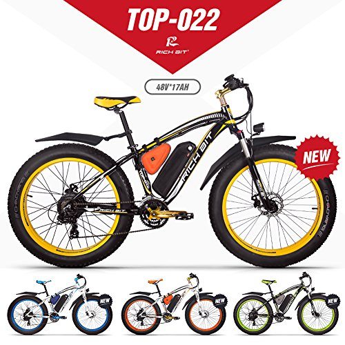 GUOWEI Rich bit RT-022 48V 17AH 1000W Fat Tire Nieve Bicicleta Sin escobillas Motor Playa Montaña Ebike (Black-Yellow)