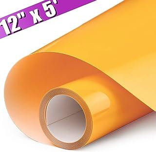 ARHIKY HTV 12IN x 5FT Roll - Iron On Heat Transfer Vinyl (Orange Yellow)