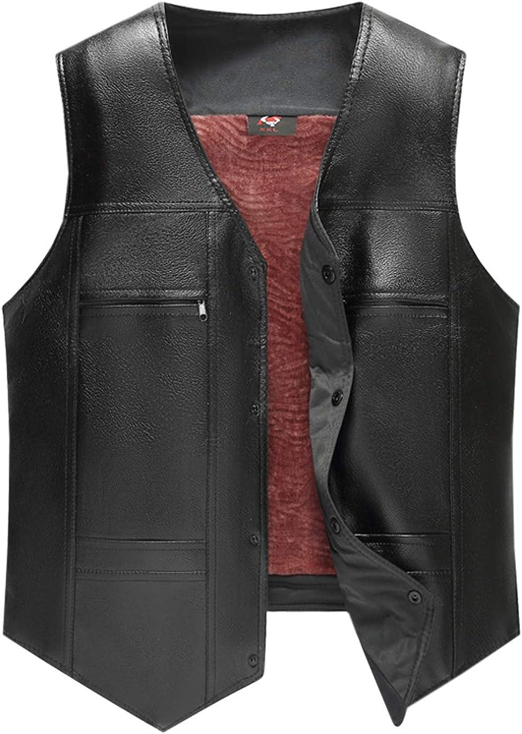 Jenkoon Men's Winter Warm PU Faux Leather Vest Button Thick Fleece Lined Waistcoat
