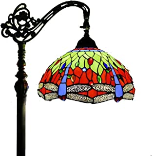 Tiffany Style 1-Light Reading Floor Lamp with 12-Inch Dragonfly Stained Glass Shade Floor Uplighter for Living Room Bedroom Antique Arched Floor Standing Lamp,110-240V,E27,A