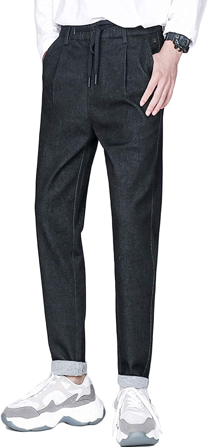 HaoMay Men's Casual Gorgeous Elastic Waist De Harem Tapered Bargain Jeans Pleated