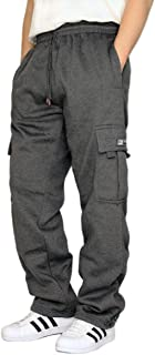 DREAM USA Men's Heavyweight Fleece Cargo Sweatpants