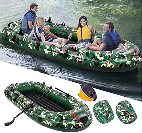 Inflatable Dinghy Boat with Hard Air Deck for 4 Person, 10FT Portable Boat Raft, Inflatable Pontoon...