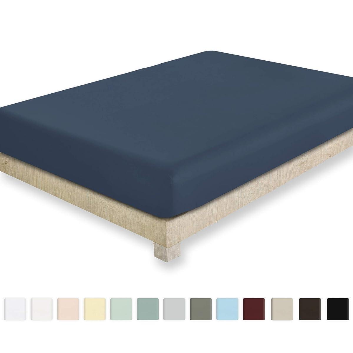 California Design Den 400 Thread Count Twin XL Size Indigo Batik Fitted Sheet - 100% Cotton 1 Pc Bottom Fitted Sheet Only, Long Staple Combed Pure Cotton Bedsheet, Lightweight, Soft Sateen Weave