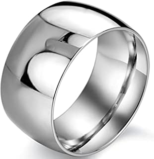 Fashion Month Men's 12mm Classic Silver Titanium Stainless Steel Ring Wedding Engagement Domed Band High Polished