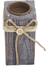 Fenteer Driftwood Tea Light Candle Holder W/Unremovable Metal Cup Jute Ribbon