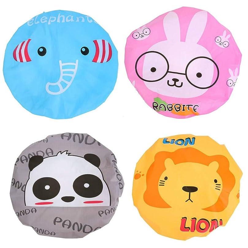 解く輸送木材シャワーキャップ Ninonly 4個セット 動物 キャラクター かわいい 防水 ヘアキャップ 入浴キャップ 浴用帽子 バスグッズ お風呂用品 レディース