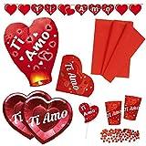 Zeus Party Kit N.5 Coordinato San Valentino con Tovaglia, Piatti, Bicchieri, tovaglioli, Confetti, Festone, Lanterna Volante e candelina - Anniversario Matrimonio Decorazioni Ti Amo Love