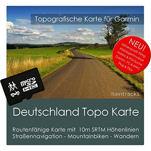 Deutschland Garmin Karte TOPO - 8 GB microSD. Topografische GPS Freizeitkarte Fahrrad Wandern Touren Trekking Geocaching Outdoor. Navigationsgeräte & PC