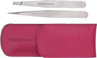 Tweezerman - Kit para cejas - pinza mini slant y pinza en punta con estuche de bolsillo, color rosa - 2 unidades
