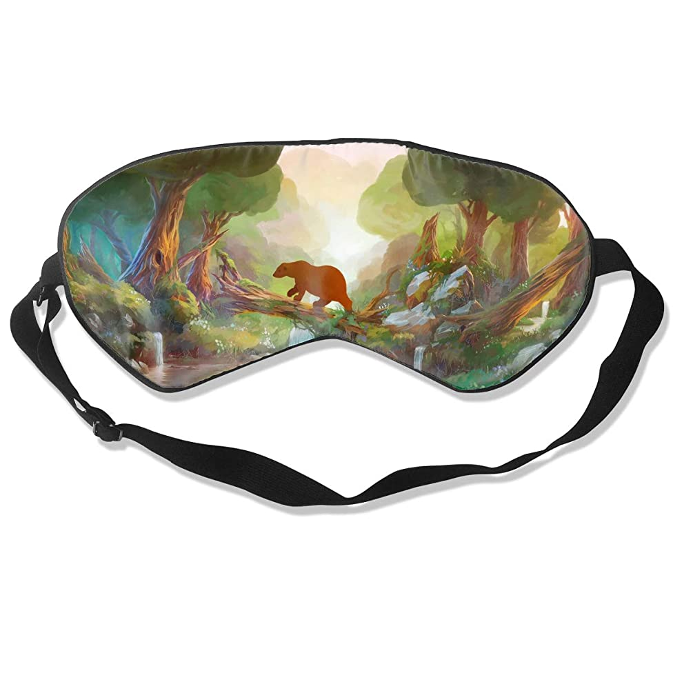 Oh-HiH 100% Silk Eye Mask Bear Tree Branch Sleeping Blindfold Blocks Light Eye Cover