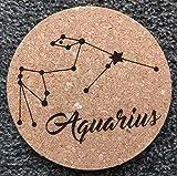 GTBItaly - Salvamanteles de corcho cortado con láser con diseño de signo de zodiásico para acuarios, concursos de cocina, idea regalo de 18 cm