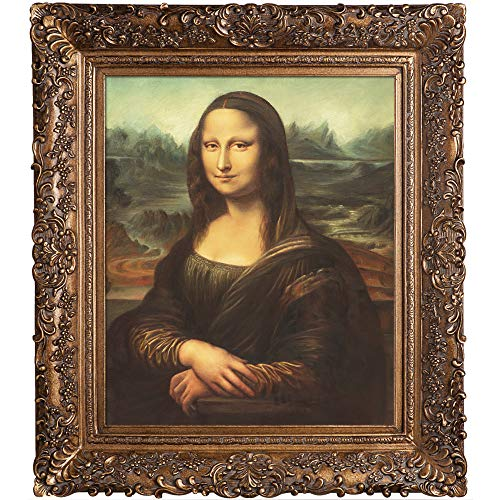 overstockArt Mona Lisa with Burgeon Gold Frame Oil Painting by Da Vinci