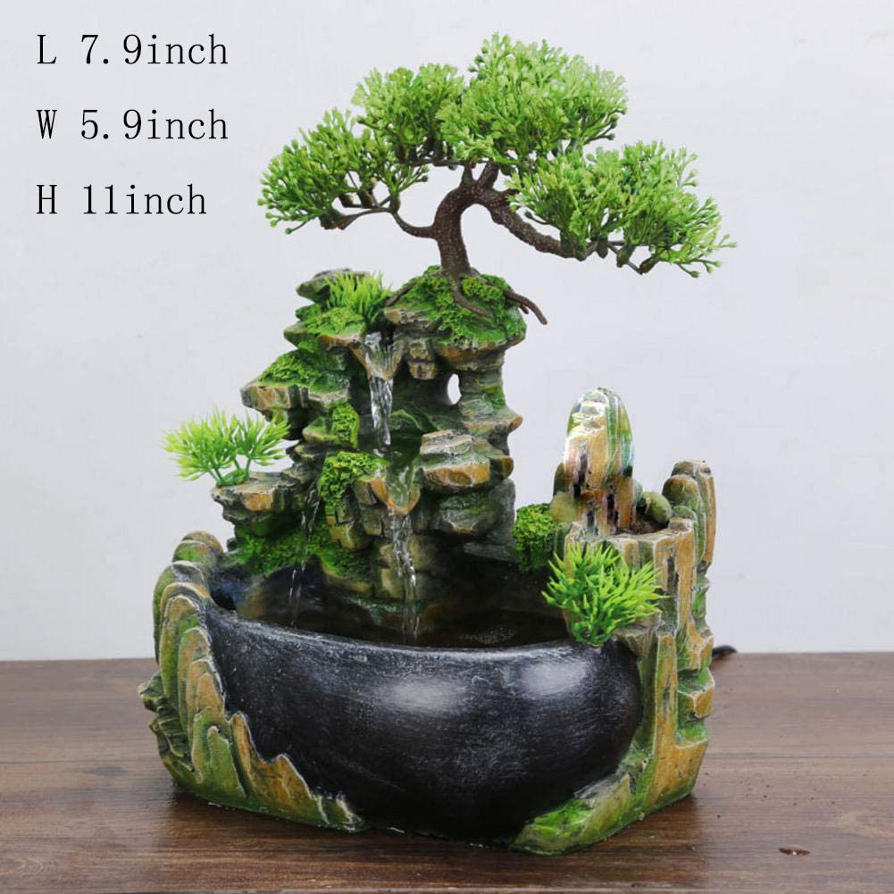 Amazon Com Tabletop Fountains Bonsai Resin Waterfall Fountain With Resin Fountain Tabletop Water Decoration Bonsai Decoration Indoor Resin Fountain 11inch Home Kitchen