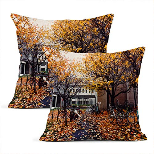 Xincow Set of 2 Throw Pillow Covers Bicycle Autumn Season Park Yellow Colourful Tree Branch Home Durable Decorative Linen Pillowcases Square Cushion Covers for Sofa 16x16 Inches