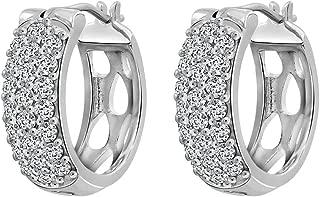 J'ADMIRE 1.22 carats Swarovski Zirconia Round Pave Huggie Hoop Earrings, Platinum Plated Sterling Silver