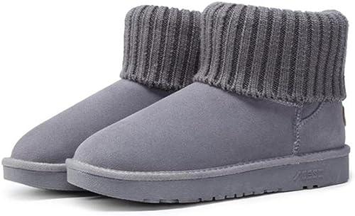 TT&XUEDIXUE Bottes de neige hiver   écolières tube court   plus velours rembourré chaussures femme   un pédale coton chaussures à talons   marron   sable   gris , gris , 36
