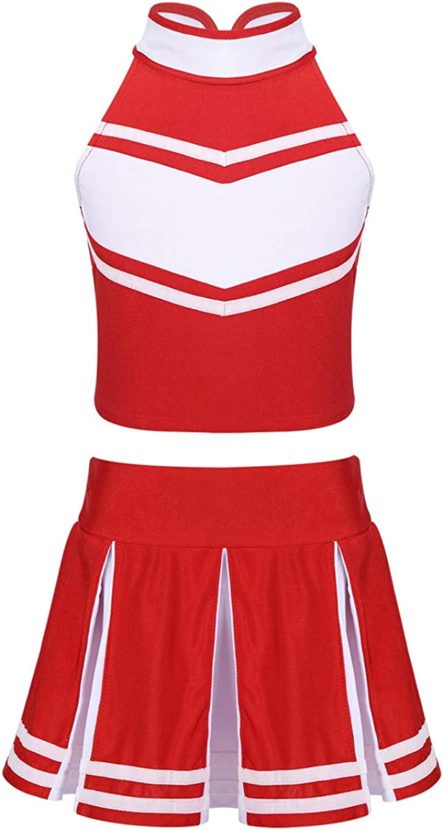 Outlet sale feature winying Girls 2PCS Time sale Cheerleading Costume Top with Sleeveless Crop