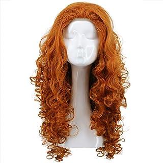 Karlery Women Long Curly Orange Wig Halloween Cosplay Wig Anime Costume Party Wig