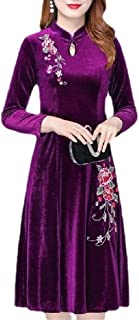 Womens Skater Winter Fall Slim Velvet Floral Embroidery Vintage Dress